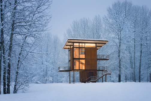 Tom Kundig's structures resemble haiku: brief in their economy, utilizing the minimum and most immediate of materials to invoke resonance; they have zen capabilities—they bend in the wind, glisten (and rust) in the rain, illuminate with the snow...